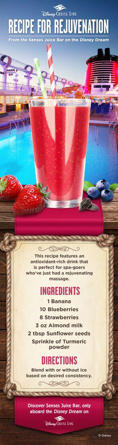 This antioxidant-rich drink Recipe from Disney Cruise Line, called the Recipe for Rejuvenation, is from the Senses Juice Bar onboard Disney Dream. Breakfast Smoothies, Smoothie Drinks, Fruit Smoothies, Smoothie Recipes, Juice Recipes, Making Smoothies, Simple Smoothies, Protein Smoothies, Juice Drinks