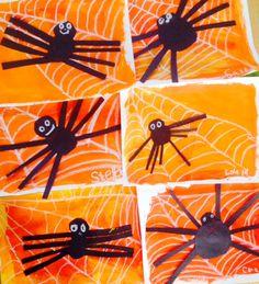 Halloween Art Lesson, Spiders, 1st grade art lesson, painting, collage www.ArtTeacherinLA.com