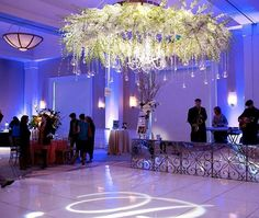 Gorgeous dance floor #gobo & uplighting at this chic venue! Photo via #modwedding #PerezPhotography