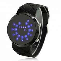 $7.33 High Quality and Unisex Black Silicone Watchband LED Watch with Blue Light - Black Case