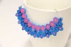 Blue ocean handmade water resistant paper necklace by LucyPaper https://www.facebook.com/Paper.Lucy