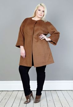 Anna Scholz - Cognac Wool Swing Coat pure sophistication