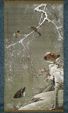 #3 Mandarin Ducks in Snow, Colorful Realm, Japanese Bird-and-Flower Paintings by Ito Jakuchu