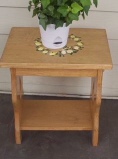 Plant stand, wooden table, hand painted, flower wreath, acrylic painting, small table, end table, footstool, outdoor table, porch table by WoodnThingsNY12534 on Etsy