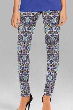 Printed Blue Cotton Casual Leggings