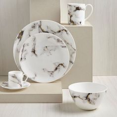 Grey & Gold Marble Dinner Plate – Set of 4 | Scenario Home