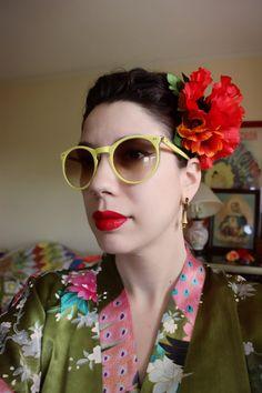 Double Poppy and Cosmos Hairflower by SassafrasFox on Etsy