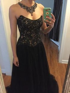 Regal Sherri Hill gown - black with champagne lining. Fully beaded bodice with great structural boning, full skirt. Custom designed necklace drapes front and back of shoulders - an incredible statement piece! Custom earrings also included. Purchased for $2,500.00. Placed top 5 at Miss Alabama