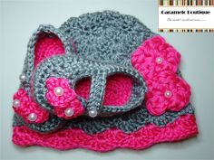 baby shoes crochet | Crochet Baby Girl Hat and Shoes Set with Pearls-Infant Newborn Baby ...