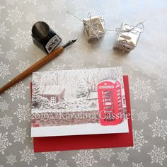"""Seasonal Greeting Card """"Phone Box"""", blank inside Red Christmas, Christmas Cards, Red Envelope, Blank Cards, All Design, Original Paintings, Greeting Cards, Messages, Seasons"""