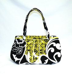 Ribbon Shoulder Bag in black white yellow floral by bagsbystacey, $28.00