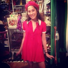 Christine looks so adorable in this red mod number she just scored from the shop!