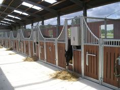 Horse barn. Each stable has a feeding gap.