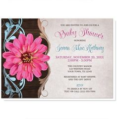 Rustic Country Pink Zinnia Baby Shower Invitations for your little #baby that's on its way!   #babyshower #invitations | Southern floral country-inspired Baby Shower invitations designed with a vibrant pink zinnia over a brown wood pattern with blue and tan flourishes, above a light faded parchment background, and your celebration details printed in brown, blue, and pink.
