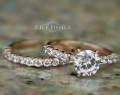 2.15 CT Round Cut Engagement Ring band set in Solid 14k by Zhedora