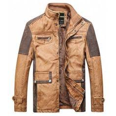 cef2add997a New Winter Fashion Leather Jackets Men Fleece Linging Warm Pu Jacket  Patchwork Design Brand Motorcycle