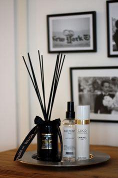 homevialaura | Voluspa Makassar Ebony & Peach Diffuser | Chanel Coco Madamoiselle Fresh Moisture Mist | room scent | gallery wall