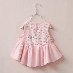 韓版2015年春季新款外貿童裝女童後背鏤空娃娃衫寶寶無袖純棉裙衫