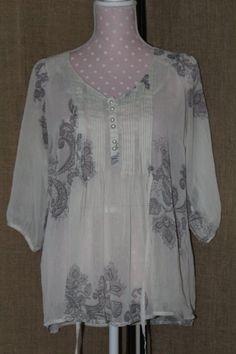 SHIRT! Amrican Rag Cie 1984 Size Medium Poly Sheer Print Women's Shirt  #AmericanRagCie #Blouse