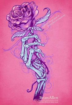 Rose Drawing Skeleton hand holding rose silk-screen - Silk-screen design of a skeleton hand holding a rose I designed for a t-shirt. Created for a fitness brand of apparel to be sold at their gyms and front their website. Hand Tattoos, Skeleton Hand Tattoo, Skeleton Art, Skull Tattoos, Rose Tattoos, Body Art Tattoos, Skeleton Hands Drawing, Tatoos, Hand Holding Rose