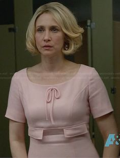 Norma's pink bow front dress on Bates Motel.  Outfit Details: http://wornontv.net/30722/ #BatesMotel