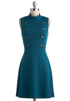 A Matter of Tact Dress - Blue, Solid, Buttons, Casual, A-line, Sleeveless, Cowl, Mid-length, Military, Work, Vintage Inspired, 60s, Mod