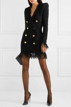 Wolford Tights, Sheer Tights, Tweed Dress, Blazer Dress, Dress Outfits, Fashion Outfits, Womens Fashion, Dress Fashion, Balmain Dress