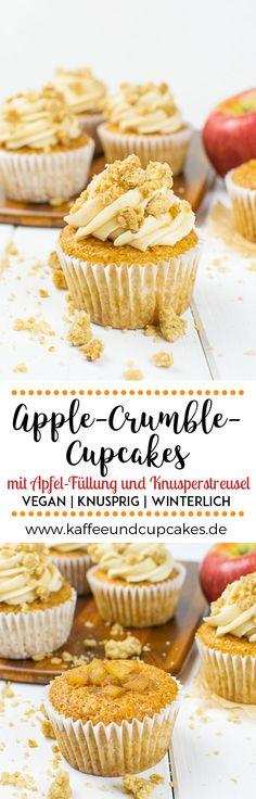 Apple-Crumble-Cupcakes mit Apfel-Füllung und Knusperstreusel {vegan}   Kaffee & Cupcakes #vegan #weihnachten #herbst #winter #apfel #cupcakes #streusel #applecrumble #haferflocken #backen #kaffeeundcupcakes #apfelmark #zimt #frosting #buttercreme