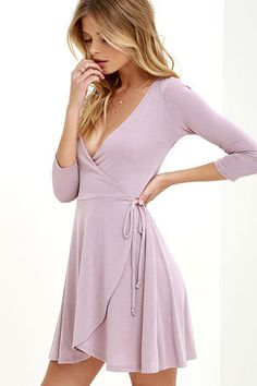 Sway the Night Mauve Wrap Dress at Lulus.com!