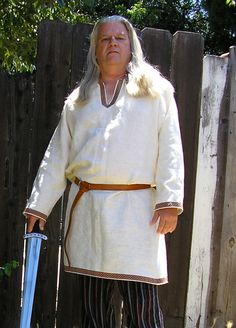 Historical Viking, Medieval linen tunic with Celtic knot trim. $74.95, via Etsy.