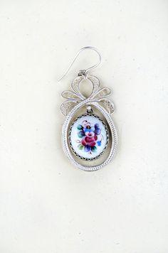 Vintage Porcelain Earrings Filigree Earrings silver par bestLuba