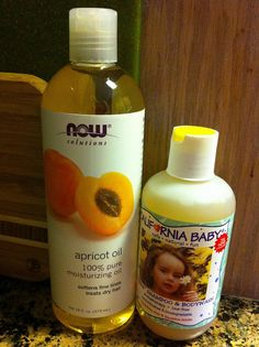 Cloth wipe solution - 1/2 T. apricot oil + 1/2 T. California Baby Shampoo & Bodywash+ 1 cup water
