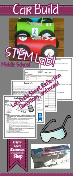 Car Building STEM lab for middle school. Challenge your students to build a car, test it, put it through trials, and then calculate it's speed and average speed. See who the fastest in the class is! Includes Lab sheet, Data sheet for group and class data, design sheet, reflection questions, and teacher info with helpful tips and teaching supplements. Available on Kristin Lee's Science (and more!) Shop on teachersPayTeachers. Part of a STEM Lab series.