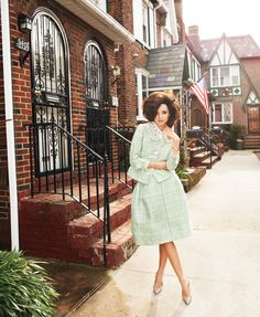 Mint Condition: Step up your style with washes of pretty pastel as Miranda Kerr does in Brooklyn for Bazaar.
