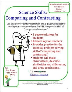 "Science Skills Worksheet and PowerPoint: Comparing and Contrasting.  Most science teachers would agree that students who have developed good ""science skills"" will be far more successful in a science class than those students who simply memorize a laundry list of science facts. This product offers a lesson (or a review) in ""comparing and contrasting"" for the science student."