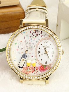 Wine Glasses White PU Leather Women's Fashion Watch at $29.99  http://www.bboescape.com/products/buy/778/watches/Wine-Glasses-White-PU-Leather-Women-s-Fashion-Watch