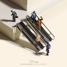 Paperclip escalators? Cool, sure. | A Man Is Creating Miniature Art For Every Day Of The Year And It's Amazing