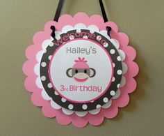 Door Sign: Pink & Brown Sock Monkey - Girl Birthday Party Baby Shower Party Decoration welcome sign