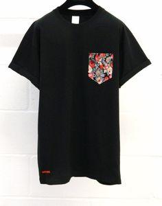 Men's Red and Black Floral Pattern Black Pocket by HeartLabelTees, £9.95