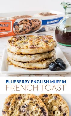 Blueberry English Muffin French Toast: Blueberry French toast meets Nooks and Crannies perfection. Just dip Thomas' Blueberry English Muffins in a vanilla egg batter, toast 'em up on the griddle and top with syrup for a crunchier take on a classic. Blueberry English Muffin, English Muffin Breakfast, Blueberry French Toast, Breakfast Time, English Muffins, Breakfast Recipes, Breakfast Ideas, I Love Food, Good Food