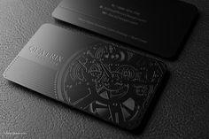 Elegant professional black metal business card - Quatrix | RockDesign Luxury Business Card Printing