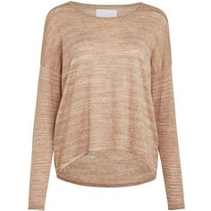 Samsoe & Samsoe Kally Oversized Jumper, Burro Melange (£90) ❤ liked on Polyvore featuring tops, sweaters, long sleeve tops, long jumpers, oversized sweaters, raglan top and beige sweater
