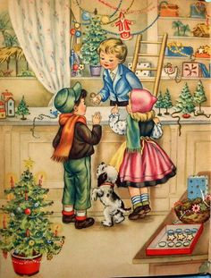 Which is your favorite Christmas illustration by Italian artist Maria Pia Franzoni (born ? Old Time Christmas, Old Fashioned Christmas, Christmas Scenes, Christmas Past, Christmas Greetings, Christmas Holidays, Christmas Shopping, Christmas Gifts, Vintage Christmas Images