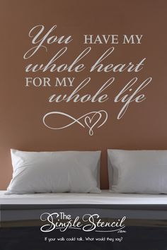 Easy to install romantic wall decals to decorate the walls of your master bedroom suite with words of love... Surprise your partner with a romantic design on Valentine's Day or any other significant holiday to celebrate the love you share. Preview and customize online in many sizes and colors. Satisfaction guaranteed. #romantic #romanticbedroom #masterbedroom #wallquotes #lovequotes #romanticquotes #lovedecals #valentinesday #valentinesdaygift #romanticgiftidea #wallquotes #walldecor… Vinyl Wall Quotes, Vinyl Wall Decals, Wedding Wall Decorations, Whole Heart, Letter Wall, Cool Diy Projects, Wall Colors, Wall Design, Life Quotes