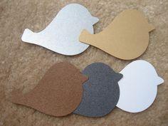 "30 Large Bird Dove Shape Gold Silver Bronze Grey White Metallics Wedding Tags Paper Die Cut Cards (3"" X 2""). $5.99, via Etsy."