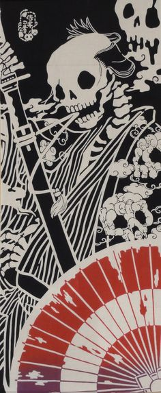 Tenugui 'Surreal Samurai' Cotton Japanese by KyotoCollection