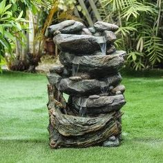 Loon Peak Vargas Polystone fall Fountain with LED Light  Reviews | Wayfair Rock Fountain, Tabletop Water Fountain, Waterfall Fountain, Concrete Fountains, Garden Water Fountains, Garden Ponds, Koi Ponds, Swimming Pools Backyard, Front Yard Landscaping
