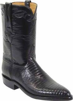 Mens Lucchese Classics Black Lizard Custom Hand-Made Roper Boots L3106
