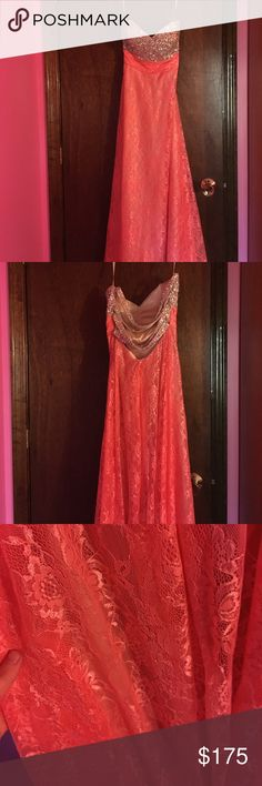 """Beautiful prom dress Gorgeous Le Femme prom dress only worn once. Was originally a size 2 but taken in a little bit. Height was altered. Would be a good length of height of 5'2"""" to 5'5"""", with some variance depending on the shoe worn with it. Strapless. Color is coral pink. Straps in the back cross and look stunning on. I would like to make mention that there is some fraying at the bottom from wear, shown in last photo. La Femme Dresses Prom"""