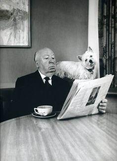 """- Dis moi Azor,  vois-tu un bon scénario dans  la rubrique des """"chiens écrasés""""!    by Philippe Halsman (1974)"""